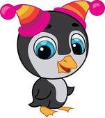 Ilustración de lindo pingüino en dos sombreros — Vector de stock