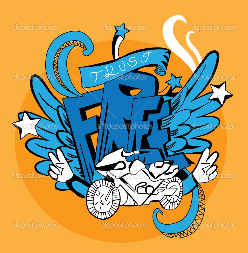 Graffiti vector abstract illustration. Wings, word, moto — Stock Vector #10389502