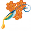Honey drop flows down from spoon - Stock Vector