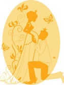 Silhouette of pregnant queen and king — Stock Vector