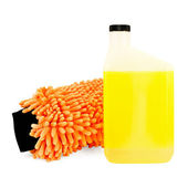 Mitten and shampoo for car — Stock Photo