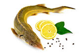 Fish starlet with lemon and pepper — Stock Photo