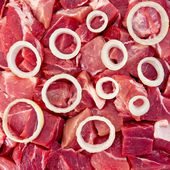 The texture of the meat and onions — Stock Photo
