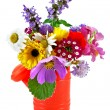 Bouquet of flowers in the nursery watering — Stock Photo
