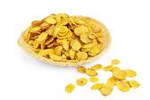 Corn flakes on bread — Stock Photo