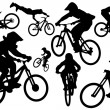 Stock Vector: Cyclist silhouettes