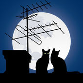 Cats on the roofs — Stockvector