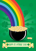Green cauldron icon with gold coins and rainbow — Stock Vector