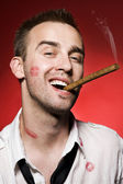 Man smoking cigar — Stock Photo