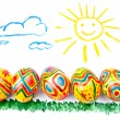 Child's picture by a water-colour: five easter eggs on a grass, - ストック写真