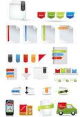 Promoción conjunto incluyendo cintas y caja del producto — Vector de stock