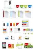 Promotion set including ribbons and product box — Vector de stock