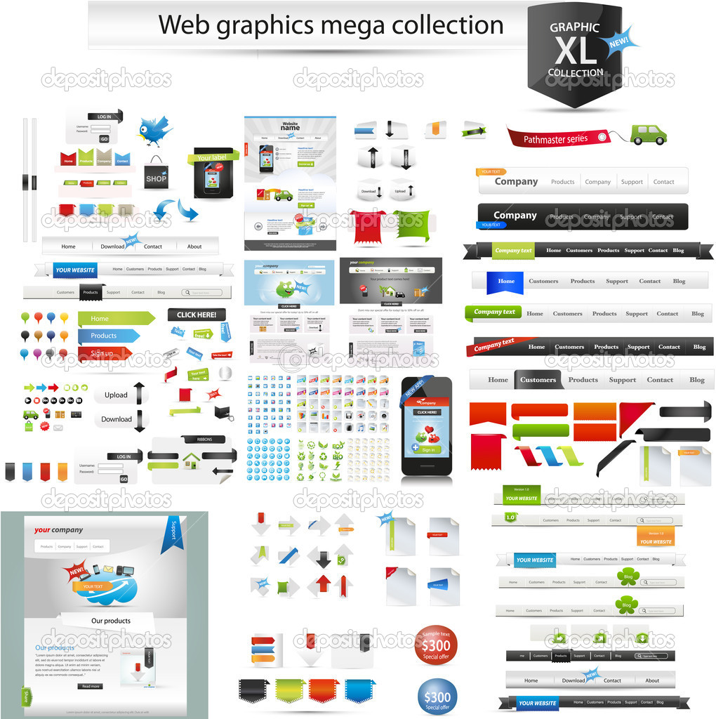 A collection of web graphics — Stock Vector #8525245