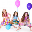 Girls with balloons — Stock Photo