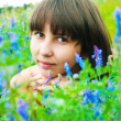 Beautiful girl on a meadow — Stock Photo