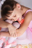 Small tired ballerina — Stock Photo