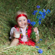 The little girl  on hay — Stock Photo