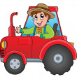 Stock Vector: Cartoon farmer on tractor
