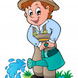 Cartoon gardener with watering can — Stock Vector
