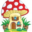 Stock Vector: Cartoon mushroom house