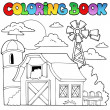 Coloring book farm theme 1 — ストックベクタ #10246496