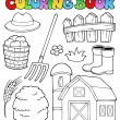 Stock Vector: Coloring book farm theme 2