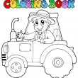 Coloring book farmer on tractor — Stock Vector #10246515