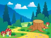 Cartoon forest landscape 7 — Stock Vector