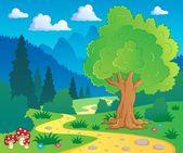 Cartoon forest landscape 8 — Stock Vector