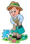Cartoon gardener with watering can — Stock Vector