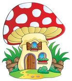 Cartoon mushroom house — Stock Vector