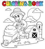 Coloring book farm theme 3 — Stock Vector