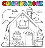 Coloring book house theme image 1 — Stock Vector