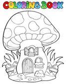 Coloring book mushroom house — Stock Vector