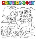 Coloring book ocean and mermaid 1 — Stock Vector