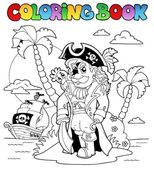 Coloring book with pirate theme 9 — Stock Vector