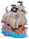Old pirate ship with tentacles — Stock Vector
