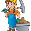 Stock Vector: Miner with pickaxe and cart