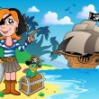 Pirate girl on coast 1 - Stock Vector