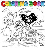 Coloring book with pirate topic 2 — Stock Vector