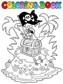 Coloring book with pirate topic 3 — Stock Vector