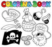 Coloring book with pirate topic 4 — Stock Vector