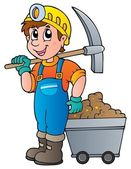 Miner with pickaxe and cart — Stock Vector