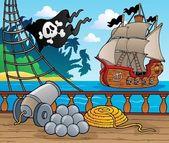 Pirate ship deck theme 4 — Stock Vector