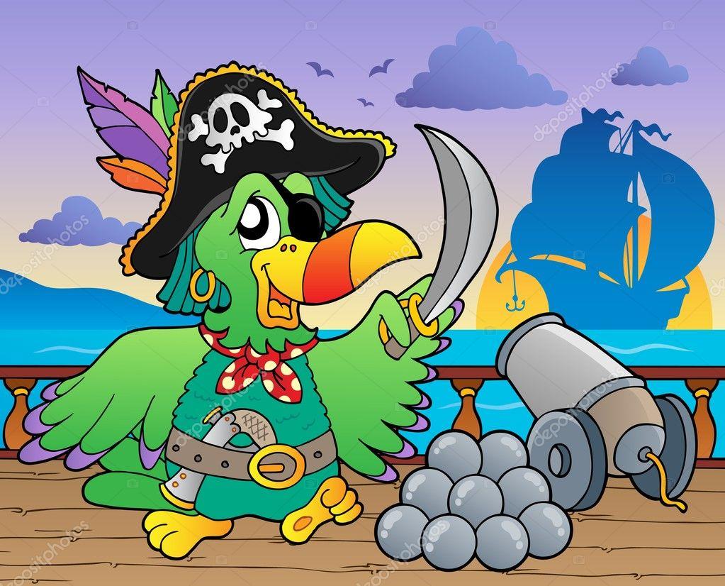 Cartoon pirate ship deck