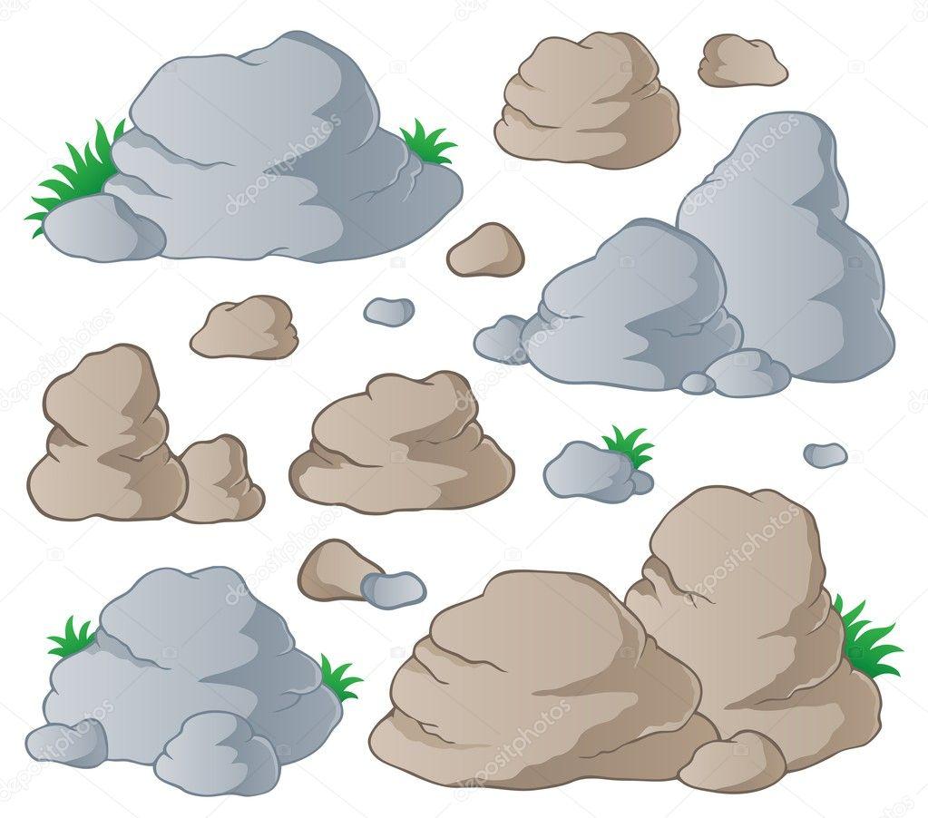 各种石头收藏 1-矢量图– 图库插图