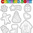 Coloring book gingerbread 1 - Stock Vector