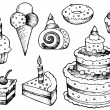 Stock Vector: Cakes drawings collection