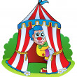 Cartoon clown in circus tent — Stock Vector #8154106