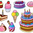 Stock Vector: Various cakes collection 1